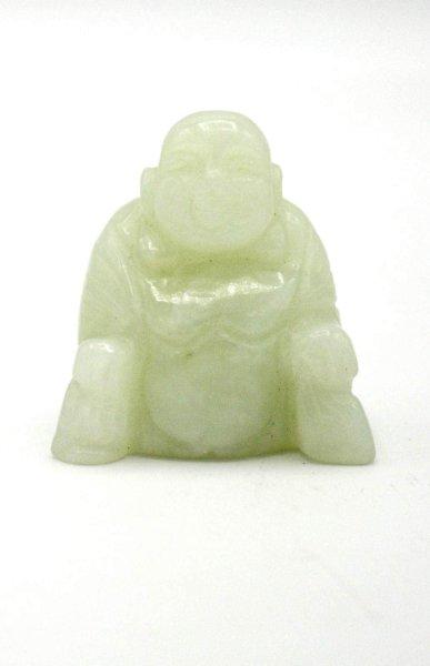 Kleine Hotai Buddha Figur aus grünem Achat