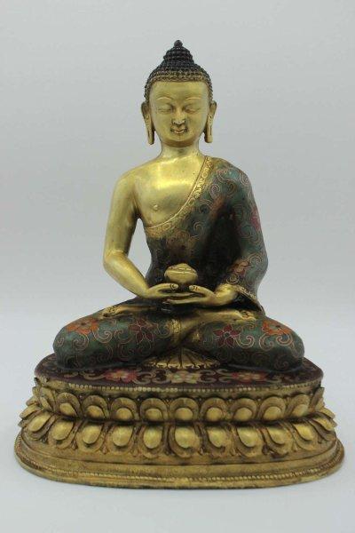 Buddhistische Amitabha Figur - Cloisonné Buddha