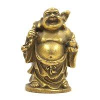 Lachende Hotai Buddha Figur (4,5cm) Bronze Glücksbringer