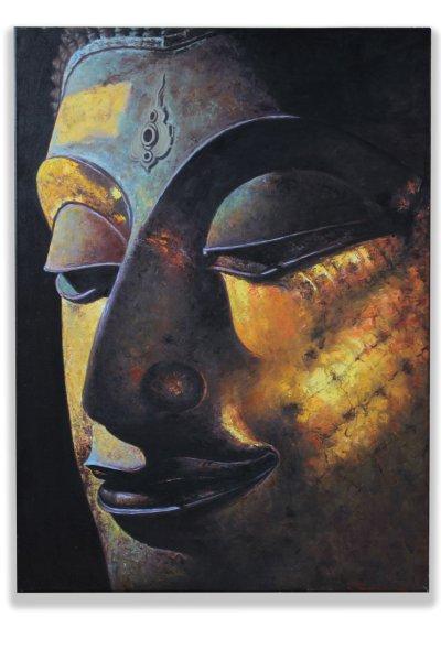 Buddha Kopf Acryl Wandgemälde