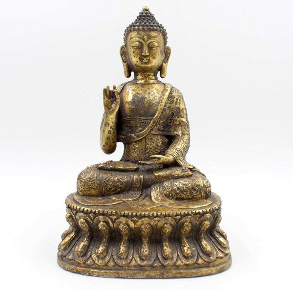 Karana Mudra Buddha (28cm) Tibetische Bronze Figur