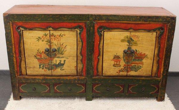 Chinesisches Sideboard Ulmenholz - handbemalt