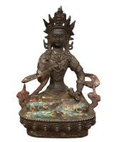 Vajrasattva Buddha Figur (20,5cm) Donnerkeil & Glocke