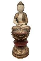 76cm großer Holz Buddha aus Burma - Meditation