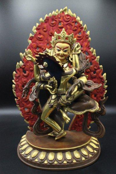 Kubera / Jambhala mit Shakti,Bronze - feuervergoldet