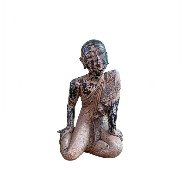 Schüler Buddhas Sariputta (75cm) Mönch Holz Figur