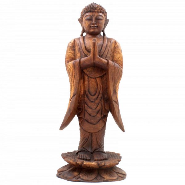 Stehender Holz Buddha (52cm) Namaskar Mudra Figur