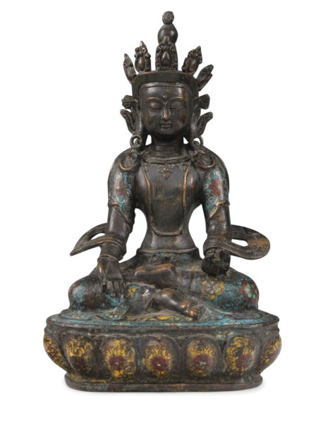 Gekrönte Cloisonne Buddha Figur aus Bronze