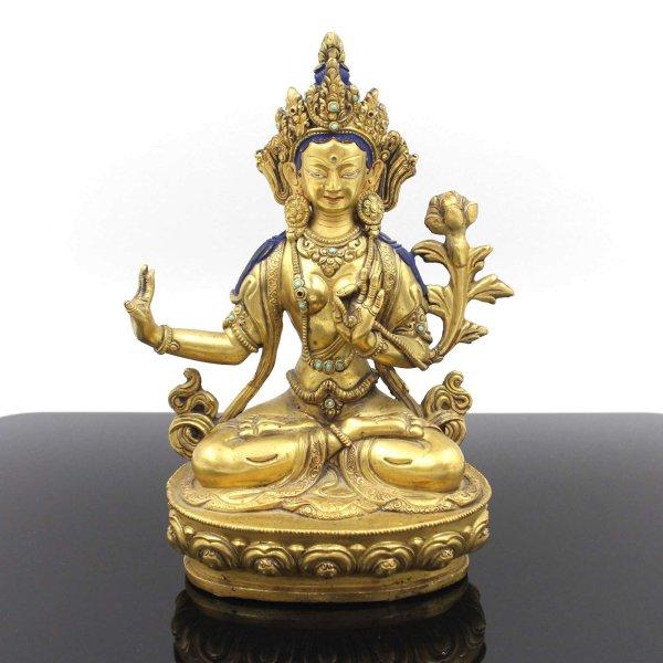 Weiße Tara Buddha Figur (21,5cm) 24 Karat Feuervergoldet