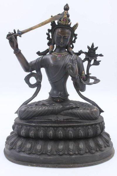 Manjushri Buddha Figur in Schwarz, aus Bronze