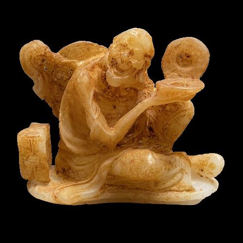 Hetian Jade Arhat Skulptur (8cm) Luohan Mönch Figur