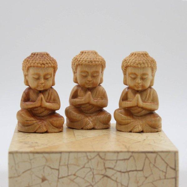 Mini Buddha Figur 3er Set Namaskar - Zedern Holz
