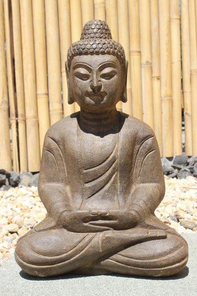 Garten Buddha Statue aus Naturstein - 47 cm groß