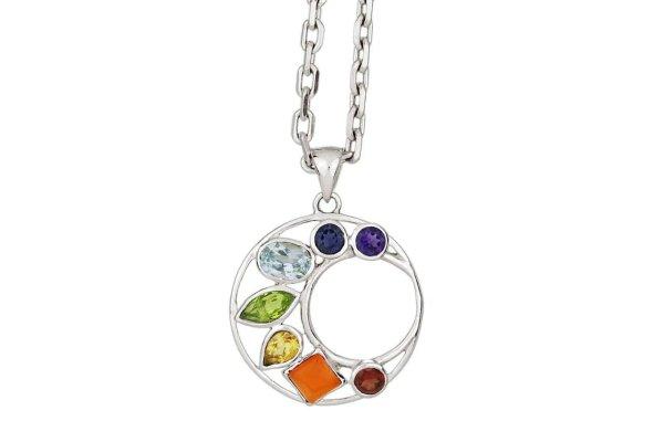 925er Silber Mond Chakra Anhänger mit Edelsteinen