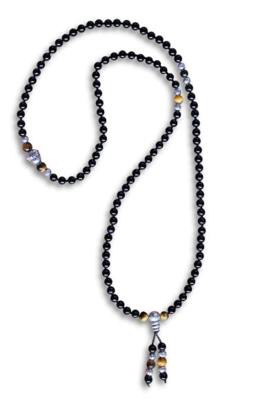 Halskette Mala mit Buddha-Kopf, Tigerauge & Achat