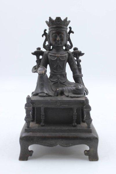 Guan Yin Buddha Figur auf Thron - Bronze