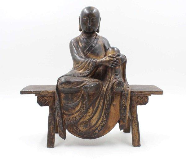 Ruhende Mönch Figur (28,5cm) Bronze Statue auf Bank
