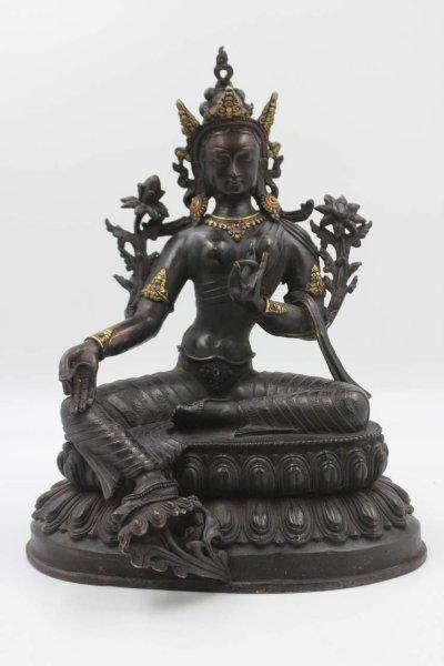 Grüne Tara Buddha aus Bronze - Figur aus China