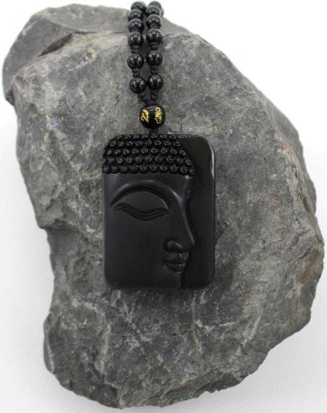 Buddha Kopf schwarzer Obsidian Anhänger - Edelstein Halskette