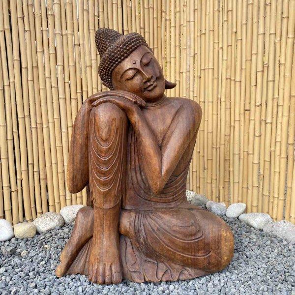 Ruhende Buddha Figur aus Holz 81cm groß