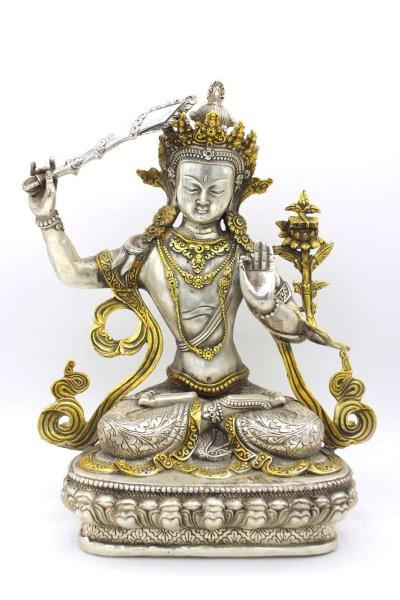 Buddhistische Manjushri Figur - aus Bronze