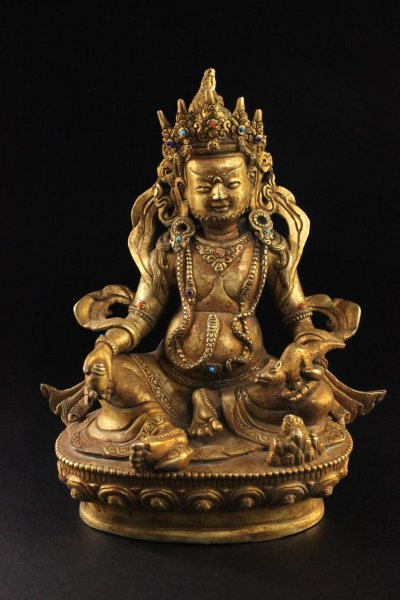 Kubera Figur Bronze - vergoldet mit Türkis
