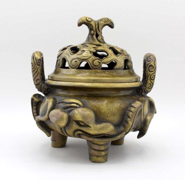 Chinesisches Räuchergefäß (16,5cm) Bronze Topf mit Henkel