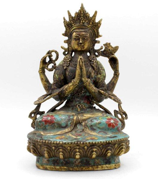 Chenrezig Buddha Figur (21cm) Cloisonné Tibet Statue