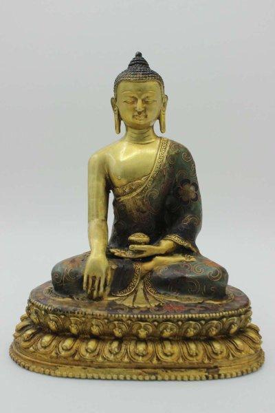 Cloisonné Siddharta Buddha (20,5cm) Bronze Figur