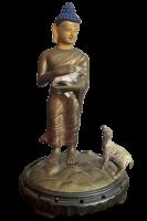 Siddharta Buddha Figur mit Lamm (32cm) Bronze Statue