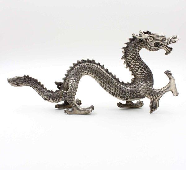 Chinesische Drachen Fabelwesen Figur aus Bronze - Silber