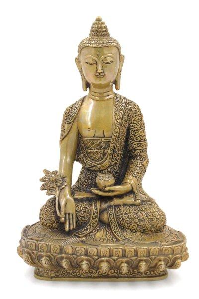 (29cm) Tibet Medizin Buddha Bronze Figur