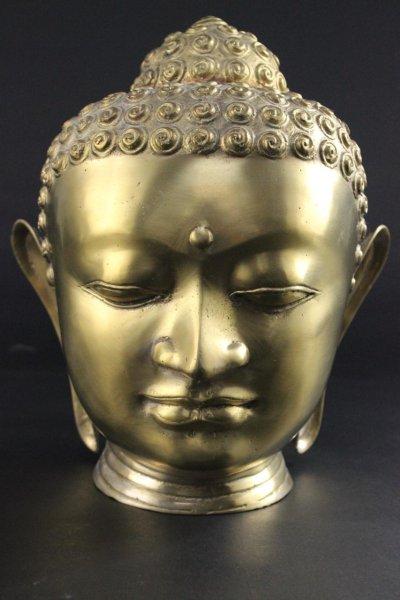 Shakyamuni Kopf aus Bronze/Messing, Thailand