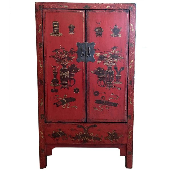 Chinesischer Schrank - 149cm - mit Glückssymbolen bemalt