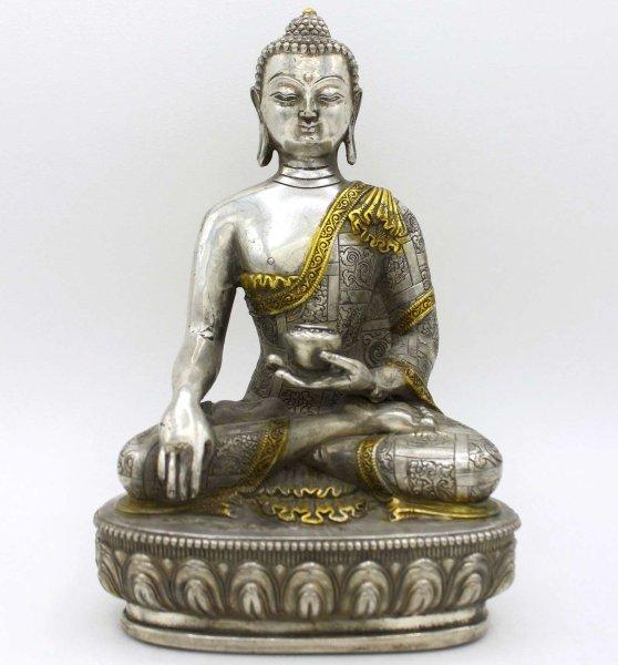 Siddharta Buddha Figur Bronze (20,5cm) Tibetsilber