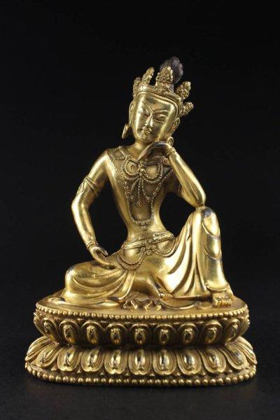 Guan Yin Buddha Figur auf Knie gestützt - Bronze