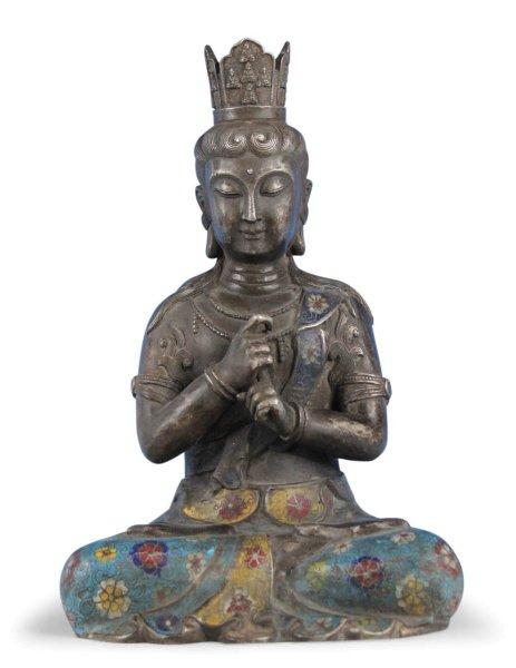 Cloisonne Buddha mit Bodhyangi Mudra - höchste Erleuchtung