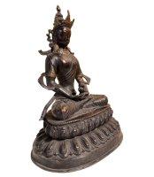 Bronze Buddha Figur Amitayus mit Edelsteinen