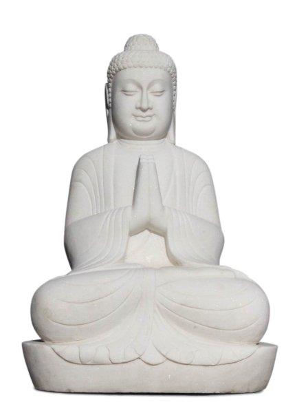 Garten Buddha Figur Namaskar aus weißen Marmor - 98cm