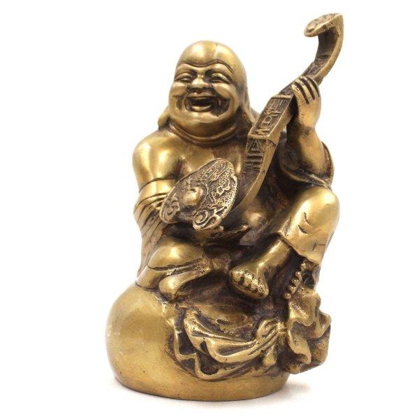 Hotai Buddha mit Zepter (18cm) Messing Figur