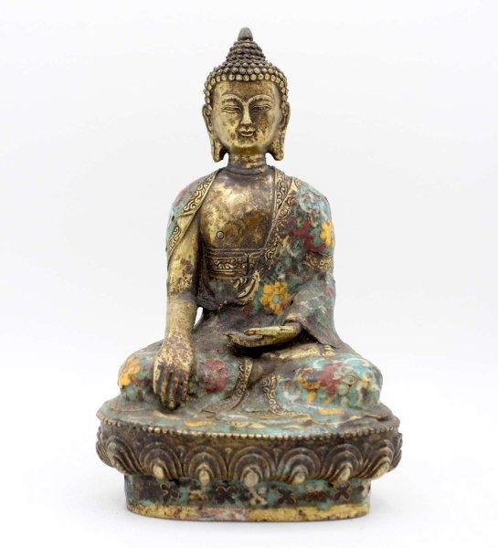 Cloisonné Siddharta Buddha (20cm) Bronze Figur