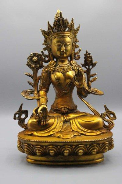 Weiße Tara Figur aus Bronze - Gold Lack