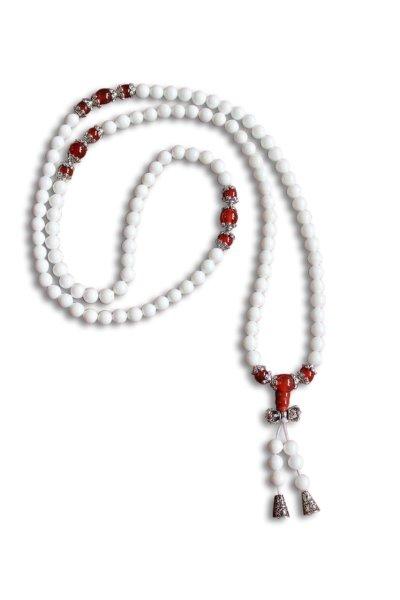 Buddhistische Halskette Mala, weißer Achat mit Dorje