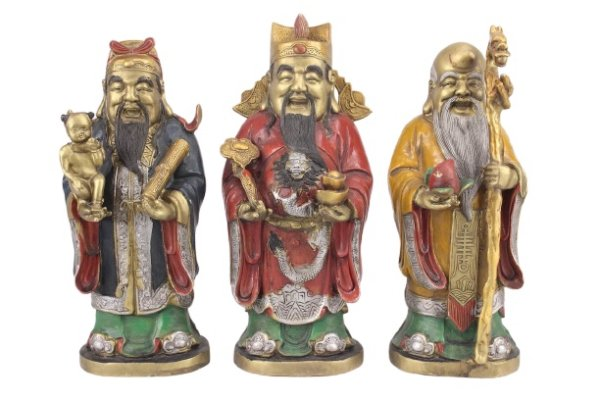 Lu Fu & Shou Bronze Figuren aus China