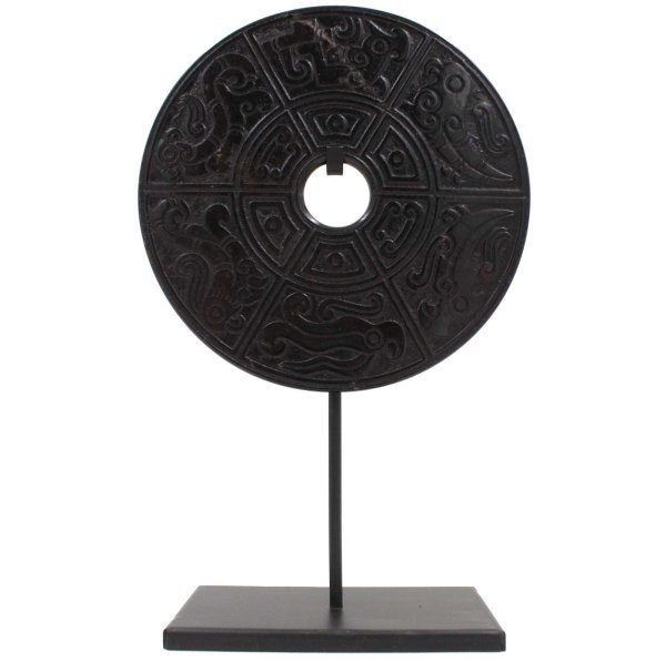 Chinesische Bi-Scheibe Achat (32cm) mit Tiermuster