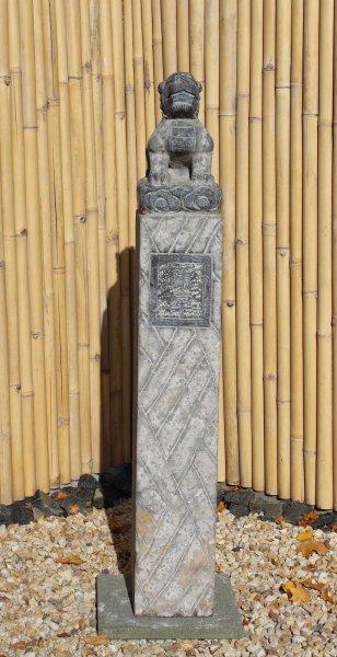 Große Drachen Stele aus Naturstein für den Garten