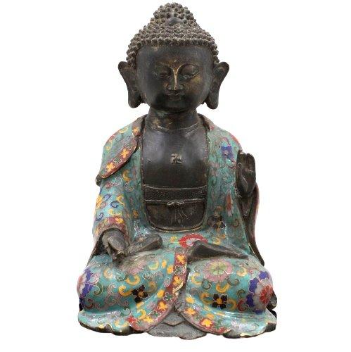 Cloisonne Buddha Figur Amitabha aus Bronze