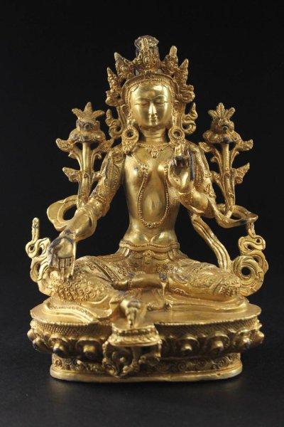 Grüne Tara Buddha - Bronze Figur
