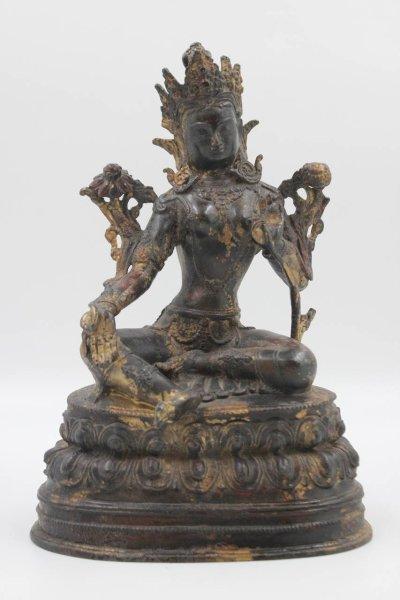Grüne Tara Buddha Figur Bronze - Unikat