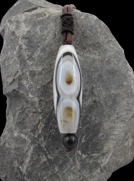 Tibet 2 Augen Dzi Halskette - Achat Stein Perle